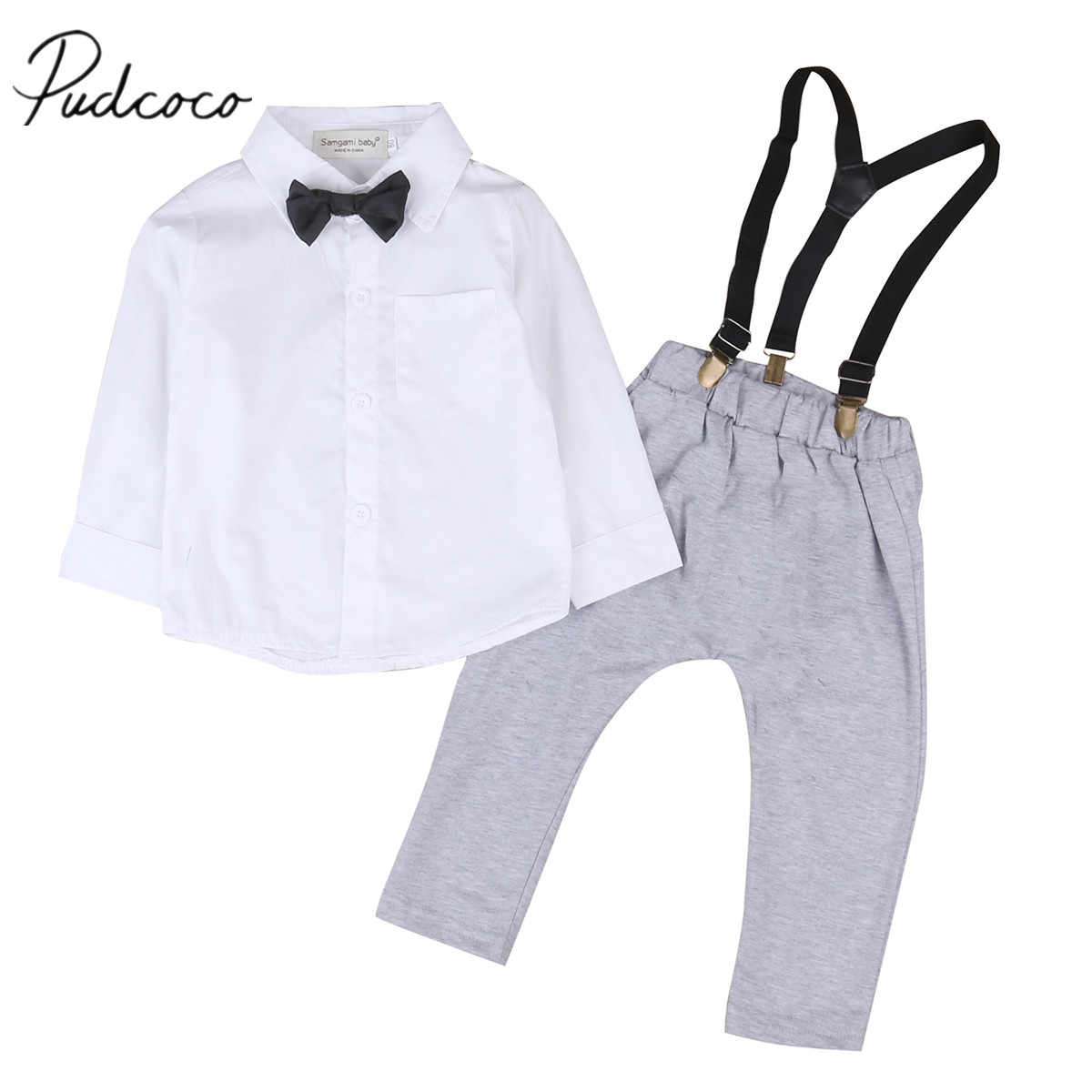 0807a480a Detail Feedback Questions about 2018 Brand New Toddler Baby Boy Formal  Casual Clothes Sets 2PCS Long Sleeve Solid White Shirts Tops Grey Overall  Bib Pants ...