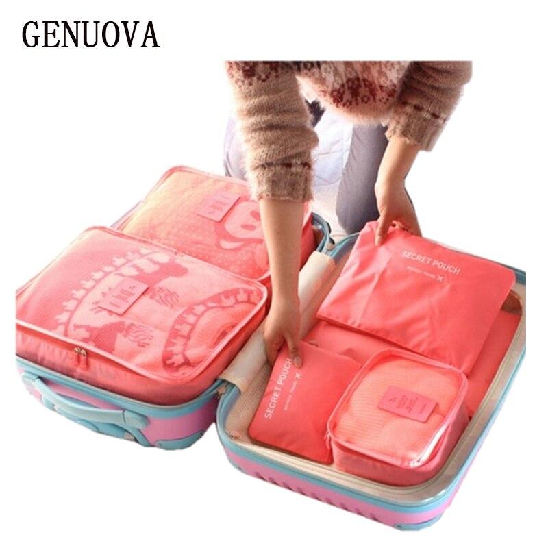 6 Stücke Ein Satz Gepäck Nylon Verpackung Würfel Reisetaschen System Durable Große Kapazität von Unisex Kleidung Sortierung Organisieren Tasche