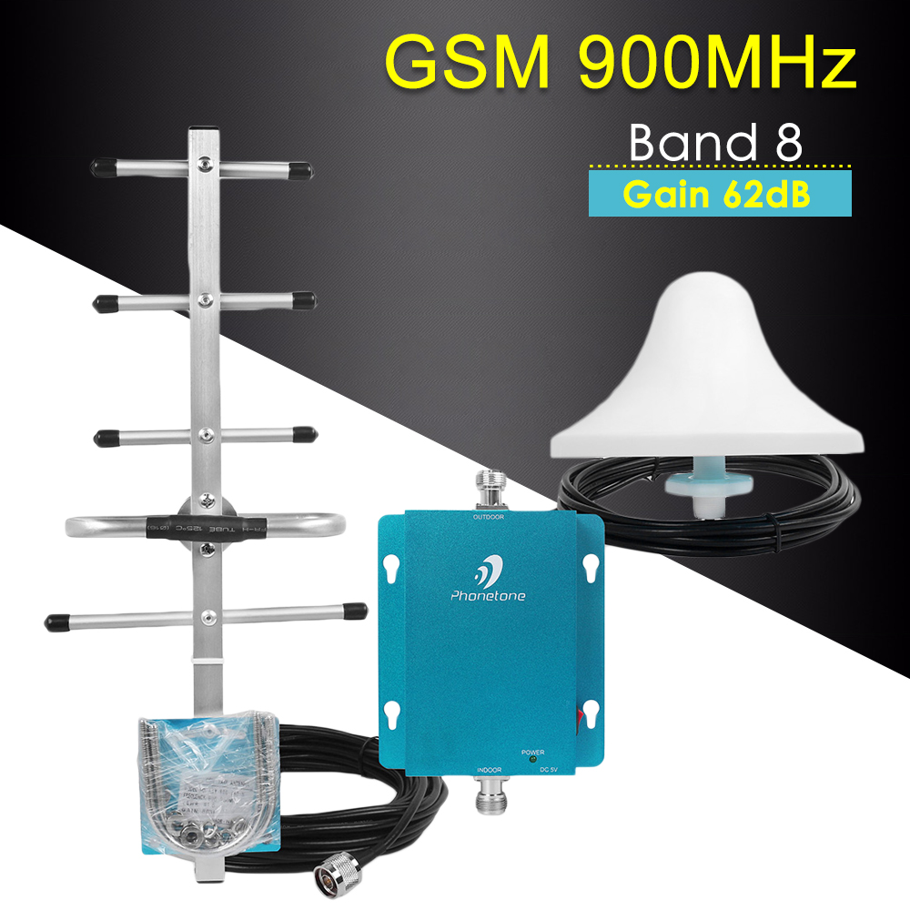 Cellular Amplifier GSM Repeater 900mhz Cellular Signal Booster 62dB Mini GSM Signal Amplifier Mobile Network Booster Antenna Set