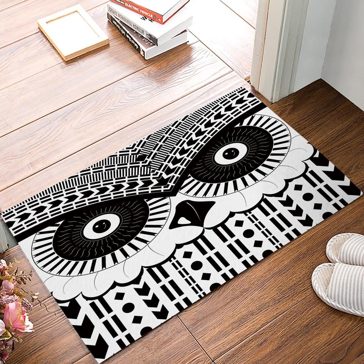 Black And White Geometric Kitchen Rug: Black And White Geometric Owl Door Mats Kitchen Floor Bath