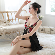 Erotic sexy pierced sleepwear perspective temptation nightdress embroidery summer sex lingerie ladies long gowns black
