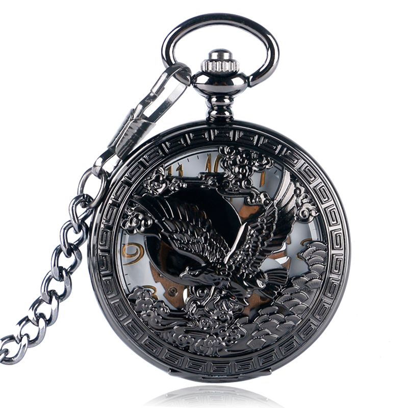 Black Steel Mechanical Pocket Watch Cool Hollow Eagle Hawk Carving Fob Chain Awesome Fob Watches Pendant Cool Gifts for Men Boys fob automatic mechanical poker hollow pendant skull bronze pocket watches with chain men women skeleton watch free shipping