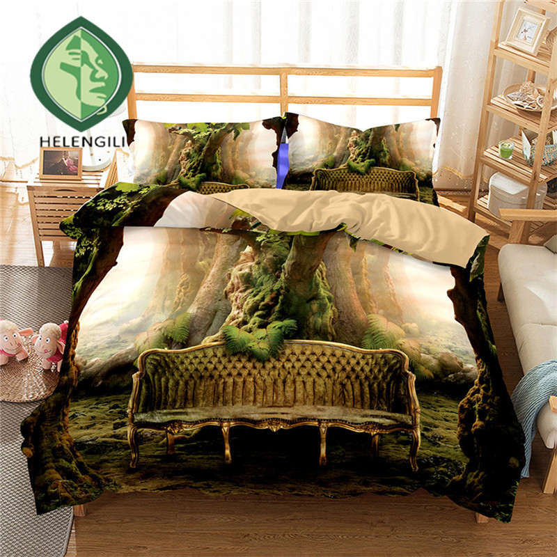 HELENGILI 3D Bedding Set Forest dreamland Print Duvet cover set lifelike bedclothes with pillowcase bed set home Textiles #2-04