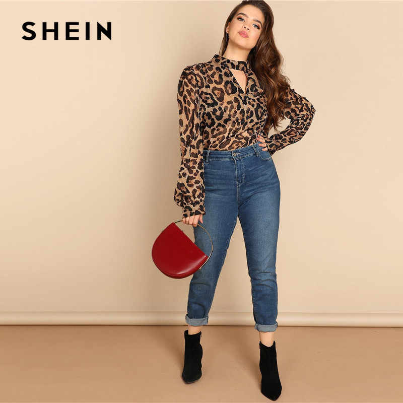 32b6c48ac1bc94 ... SHEIN Plus Size Cut Out V Neck Sexy Semi Sheer Leopard Print Blouses  Women 2019 Spring ...