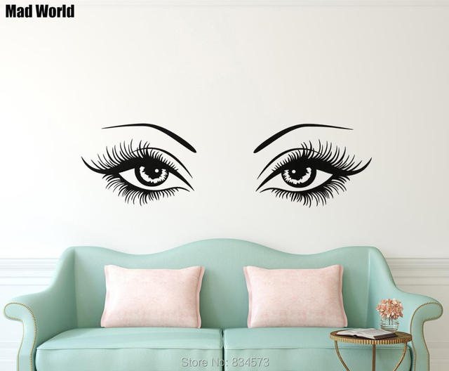 Mad World Woman Sexy Eyes and Girly Eyelashes Wall Art ...