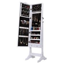 Подарок для девочек запираемый шкаф для украшений Органайзер коробка для хранения Подставка с зеркалом для макияжа белый комод для спальни