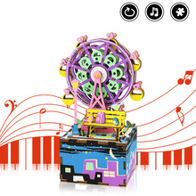 Robotime Ferris Wheel DIY Music Box 3D Wooden Puzzle Assembly Model Building Kits Musical Toys for Children Birthday Gift AM402 robotime wooden mini architecture toy diy 3d puzzle sam s study miniature model building kits wood toys for adults bookstore