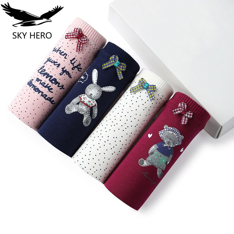 SKYHERO 4pieces/lot 2017 Underwear women   panties   cotton   panty   sexy crotchless calzoncillos lace women's short brand briefs srj
