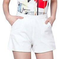 Cores doces Senhora Chiffon Verão Shorts Plus Size S-3XL Calças Capris de Cintura Alta Meninas Moda Branco Preto Sólido