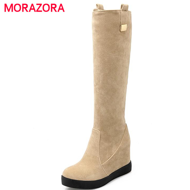 MORAZORA Solid three colors women shoes winter platform shoes knee high boots flock round toe metal decoration fashion boots fashion women half knee high boots solid buckle metal round toe platform wedge shoes 3 colors large size 34 43