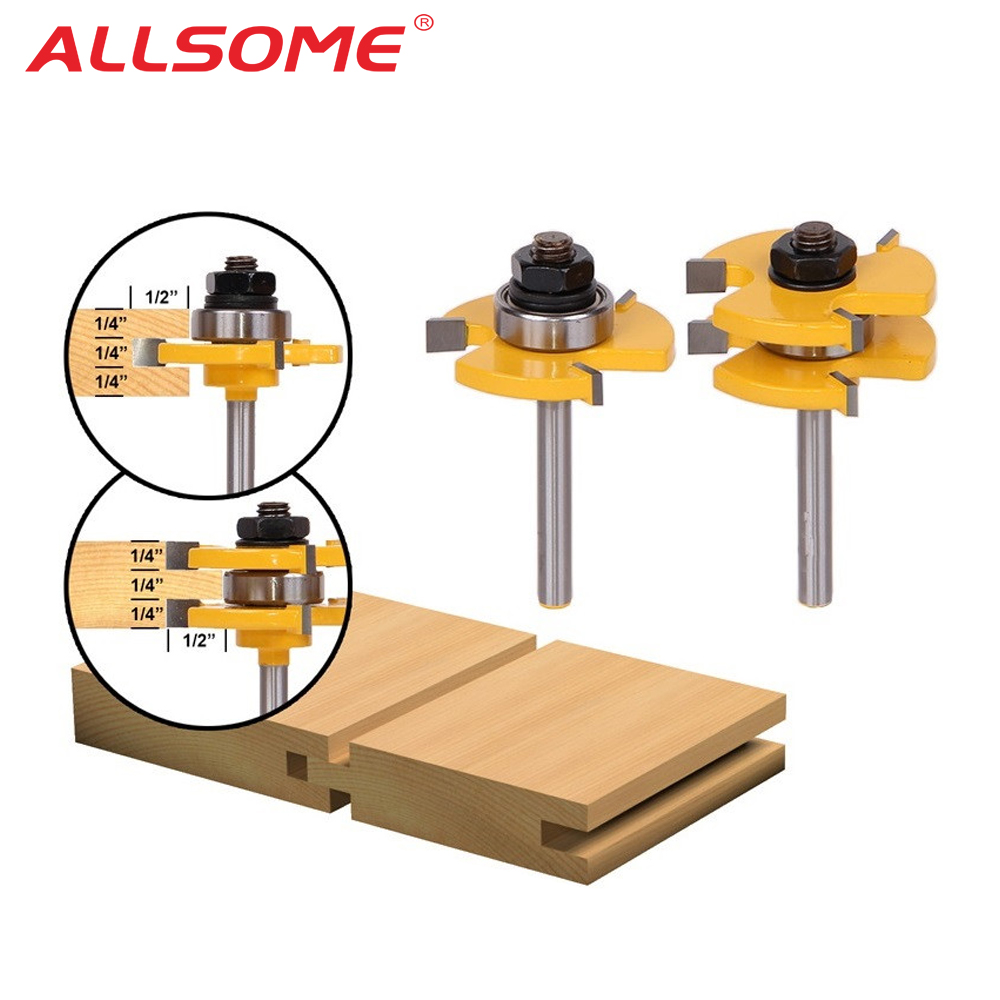 ALLSOME 2PC Tongue & Groove Router Bit Set 3/4 Stock 1/4 Shank 3 Teeth T-shape Wood Milling Cutter Flooring Wood Working ToolsALLSOME 2PC Tongue & Groove Router Bit Set 3/4 Stock 1/4 Shank 3 Teeth T-shape Wood Milling Cutter Flooring Wood Working Tools