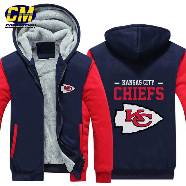 info for 24cdf 344ba NFL American football winter thicken plus velvet zipper coat hooded  sweatshirt casual jacket Kansas City Chiefs-in Hoodies & Sweatshirts from  Men's ...