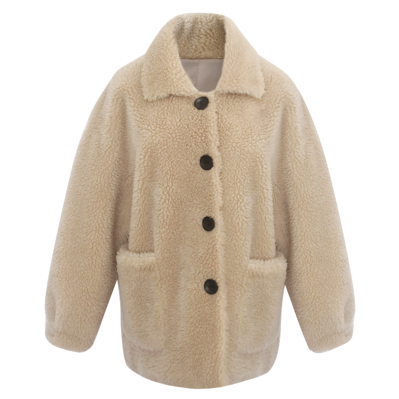 Maylofuer New Real Lamb Fur Coat Women Winter Natural Wool Fur Coats Jacket