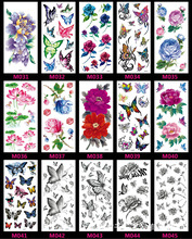 1piece Black And White Butterfly With Colored Flowers Temporary Tattoos Stickers Rose Flowers Shoulder Tattoo Waterproof SexyM26