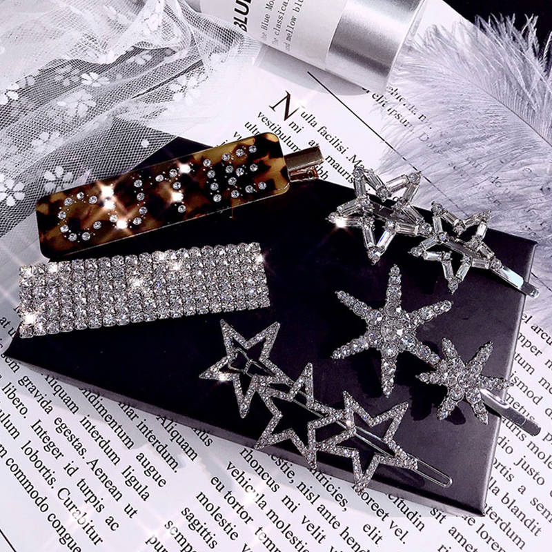 HZ 2019 Shiny Rhinestone Full Crystal Barrettes Star Hair Clip Snowflake   Headwear   Hair Grip Letter Hair Accessories For Women