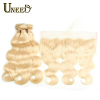 Uneed 613 Body Wave Bundles With Frontal Remy Human Hair Peruvian Blonde Bundles With Frontal 4 or 5 pcs/lot Cover Lace Frontal