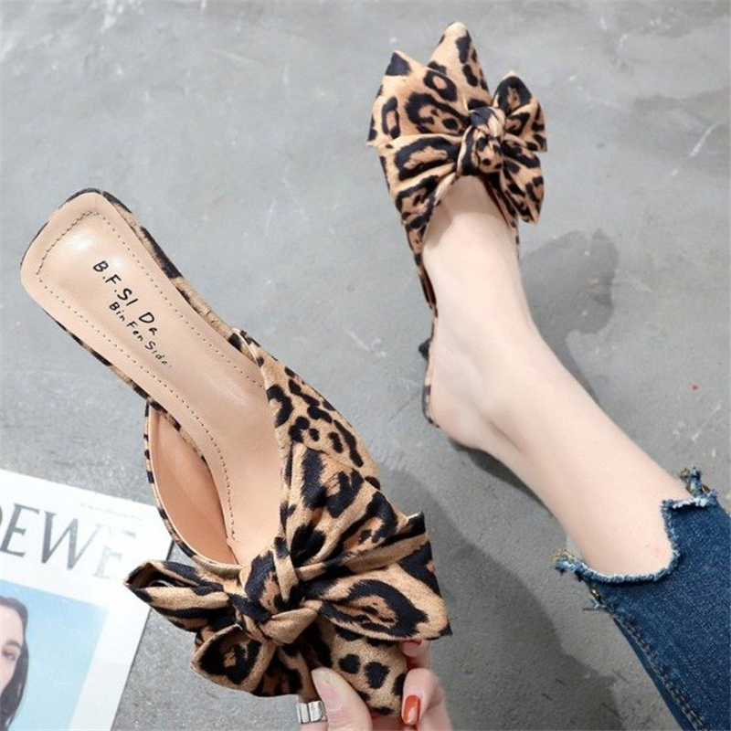 unique design 2019 <font><b>Women</b></font> Mule <font><b>Shoes</b></font> Leopard bow stiletto <font><b>High</b></font> <font><b>Heel</b></font> <font><b>Slippers</b></font> Fashion Pointed Slides <font><b>sexy</b></font> Ladies chanclas mujer image