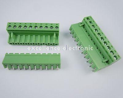 10Pcs 5.08mm Pitch Right Angle 10 pin 10 way Screw Terminal Block Plug Connector 2EDG 100 pcs green 5 08mm pitch 2 pin 2 way screw terminal block plug connector 2edg