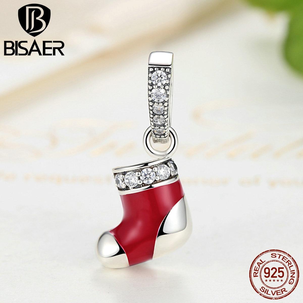 ᗜ LjഃBisaer genuino 925 plata esterlina rojo Navidad Calcetines ...