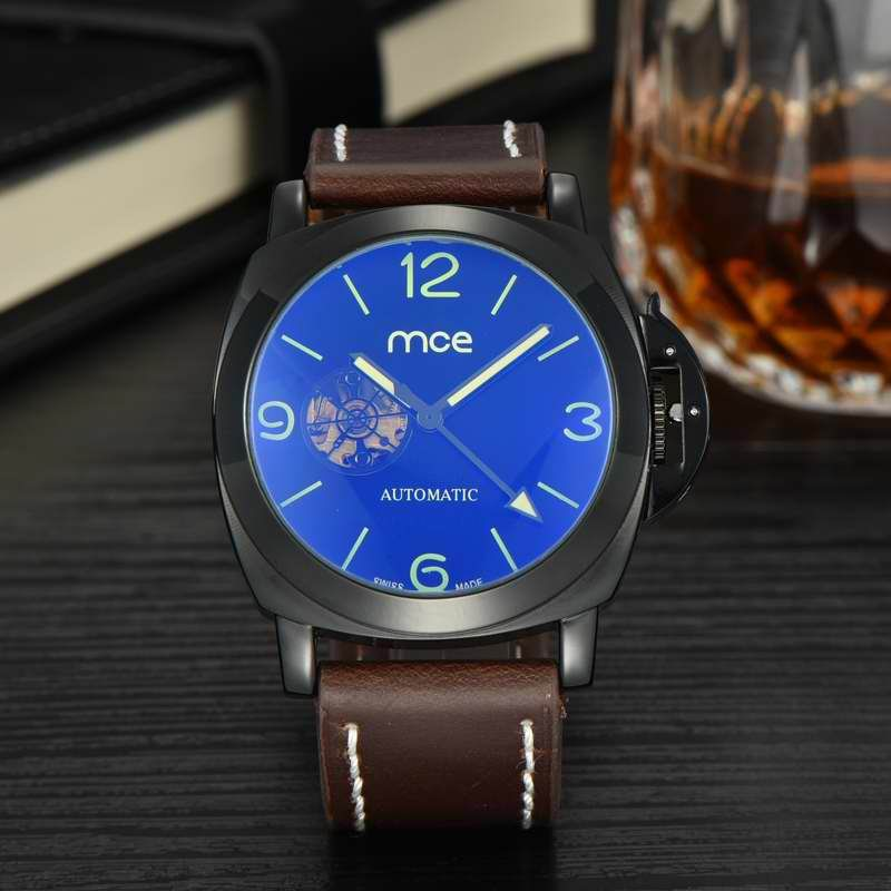 MCE Top Brand Mens Watches Automatic Men Watch Luxury Stainless Steel Wristwatches Male Leather Clock Montre Luminous Tourbillon