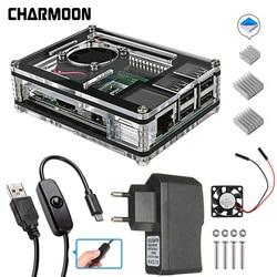 Para raspberry pi 3b + caso 9 camadas caixa de acrílico caso escudo capa 4 cores raspberry pi 3 modelo b caso conjunto quente