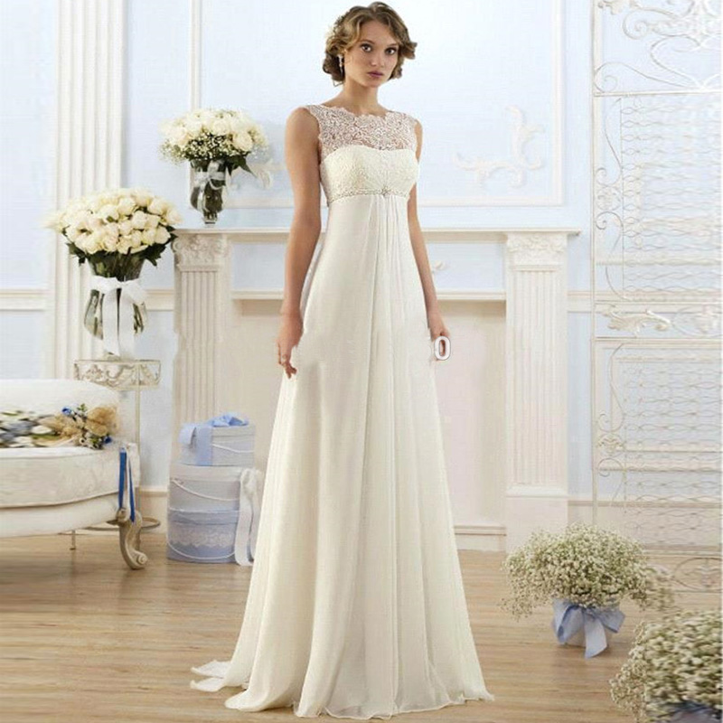Bridal gown new stock us size 4 22 white ivory chiffon for Us size wedding dresses