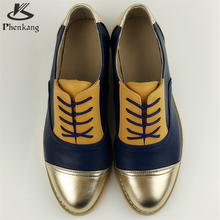 Genuine leather big woman US size 11 designer vintage flat shoes round toe handmade brown silver 2017 oxford shoes for women fur