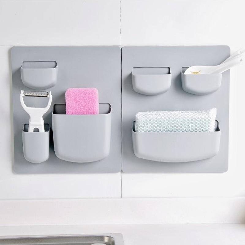 収納ラックオーガナイザーウォールマウントキッチン収納棚雑貨オーガナイザーラックスポンジホルダー浴室付属品プラスチック -    グループ上の ホーム&ガーデン からの 収納ホルダー & ラック の中