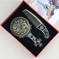 Handmade high quality hollow rhinestone ladies makeup mirror comb set hand mirror makeup tools home office use