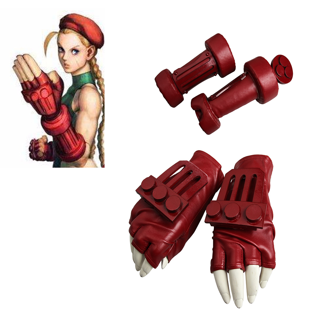 Cosplaydiy Game Street Fighter V Cosplay Gloves Arm Band Street Fighter Cammy White Red Leather Accessories Props