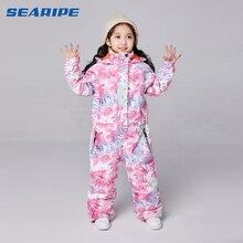 SEARIPE/лыжный костюм для девочек; Водонепроницаемая лыжная куртка для сноуборда; Теплая Лыжная куртка; детская одежда с капюшоном; цельная одежда для маленьких детей