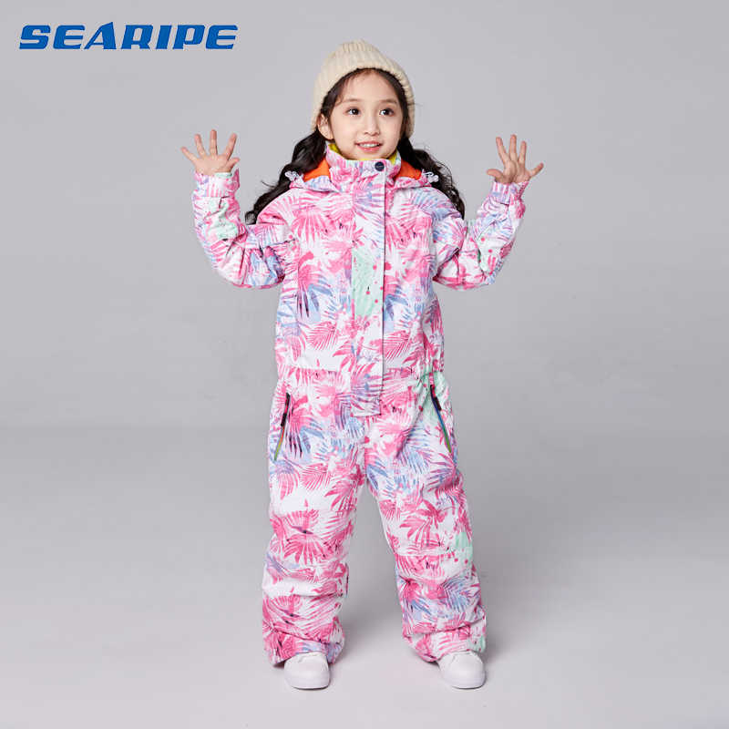 SEARIPE Ski Suit for Girls Waterproof Ski snowboard Bid Warm Thermal ski jacket Kids Hooded One-piece Little Children Clothing