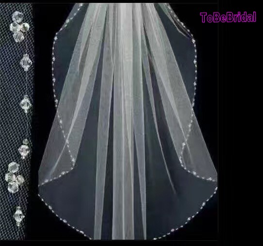 xcm tulle ivory short wedding veils with crystal elbow length bridal veil