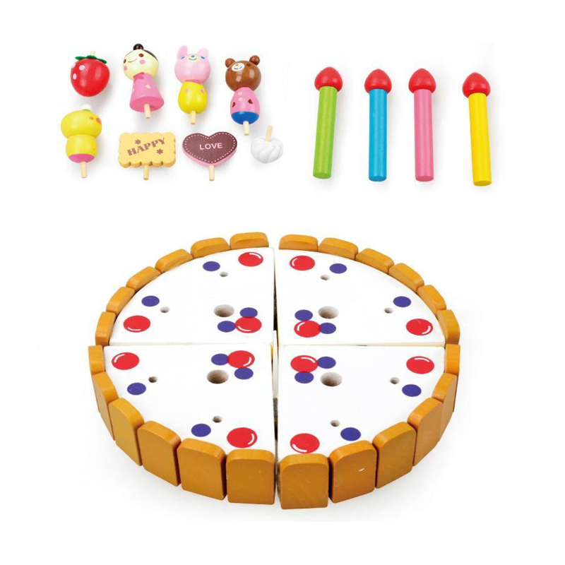 Logwood Wooden classic Kitchen toys pretend to play Cutting cake Fruits toys Cooking toys Kids Birthday gifts XWJ349-