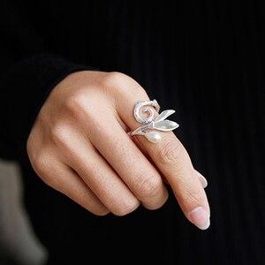 Image 5 - Lotus Vui Thật Nữ Bạc 925 Ngọc Trai Tự Nhiên Tay Sáng Tạo Mỹ Trang Sức Hoa Mộc Lan cho Nữ, Nhẫn Nữ Thiết Kế BIJOUX