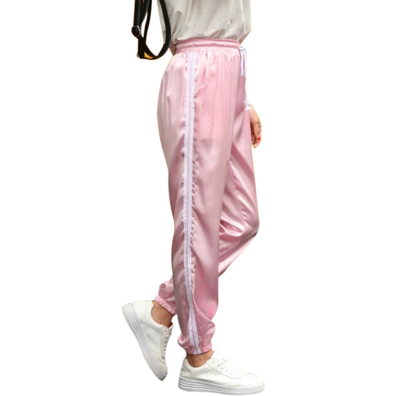 10 Color Sweatpants Women Elastic High Waist Pants 2019 Sportswear Casual Baggy Pink Striped Ladies Trousers Pantalon Femme