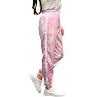 10 color Pantalones de chándal mujeres elástico alta cintura Pantalones 2017 ropa deportiva casual baggy Rosa rayas señoras Pantalones pantalon femme