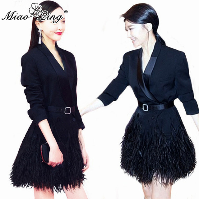 MIAOQING 2018 Women Mercerized Black Blazer Dresses Fashion V Neck Slim Long Sleeve Dress Ostrich Feather Tassel Elegant dress