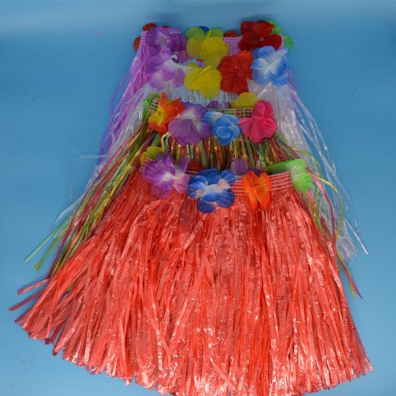 30cm Luau Hawaiano hierba hula falda Mini faldas de flores para niños mujeres chicas Hawaii fiesta de vacaciones de verano Decoración