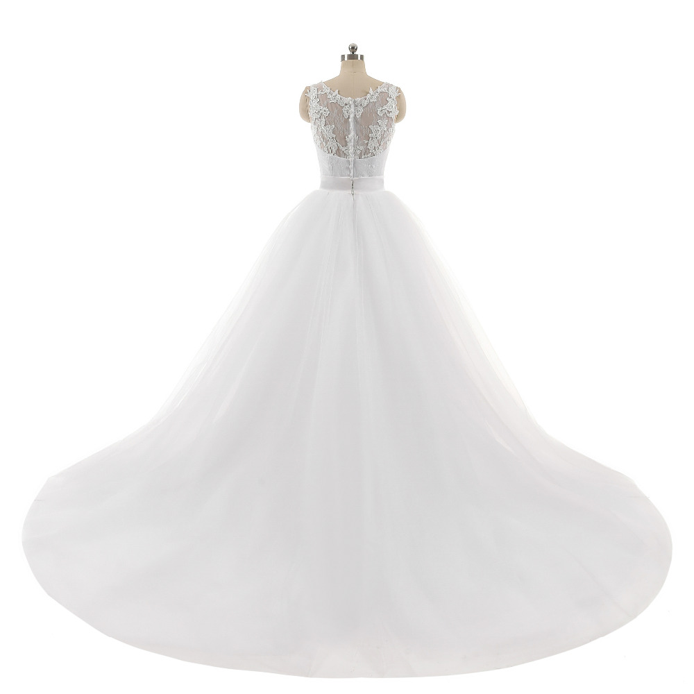 Lover Kiss Wedding Dress High Quality Ball Gowns Sleeveless Sweetheart Lace Body Detachable Train Real Image Vestido De Noiva 2