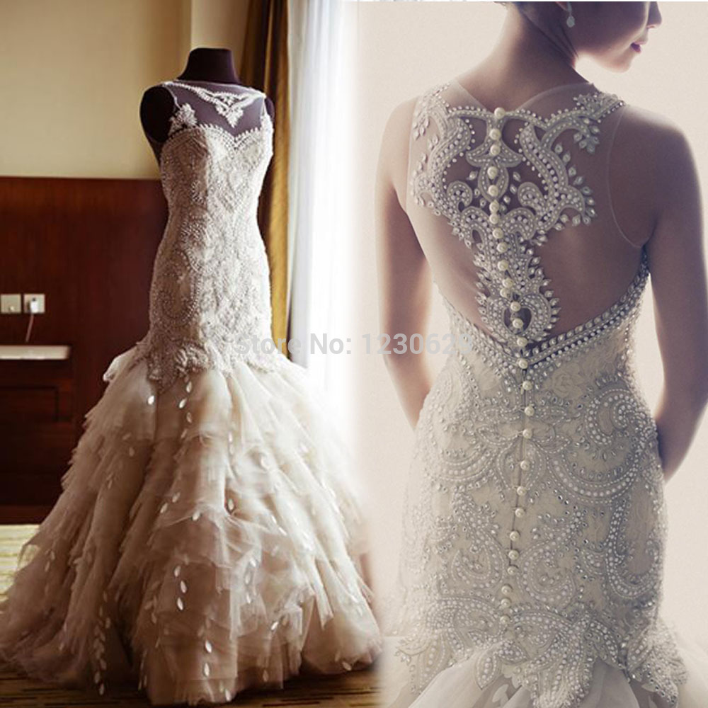 Luxury Y Bateau Sleeveless Unique Backless Liques Beads Feathers Mermaid Court Train Long Wedding Dress 2017 New Arrivalro In Dresses From