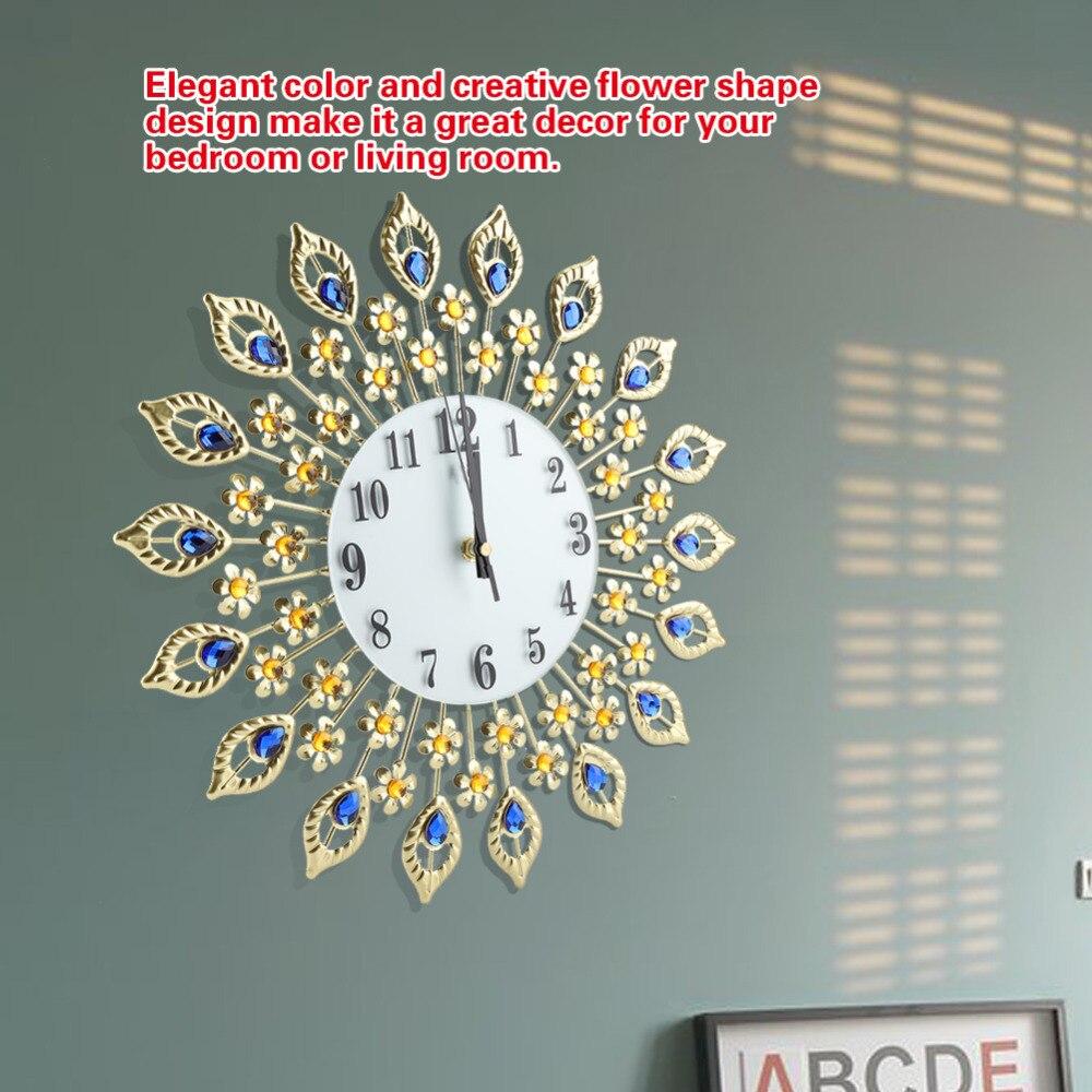 1 St Creatieve Wandklok Slaapkamer Wanddecoratie Mute Klokken Ornamenten Woonkamer Muur Gemonteerde Bloemvormige Metallic Klokken Weelderig In Ontwerp