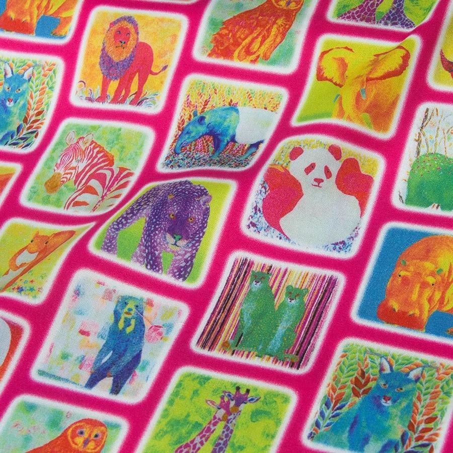 tissu en coton oxford kokka japonais demi metre patchwork pour quilting animal world rose du japon