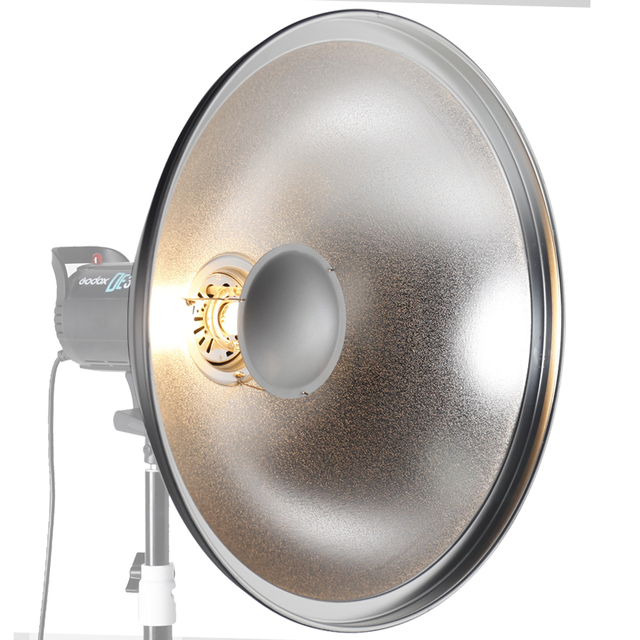 "ASHANKS 55cm / 22"" Studio Silver Beauty Dish Bowens Mount + Honeycomb Grid + Diffuser Sock"