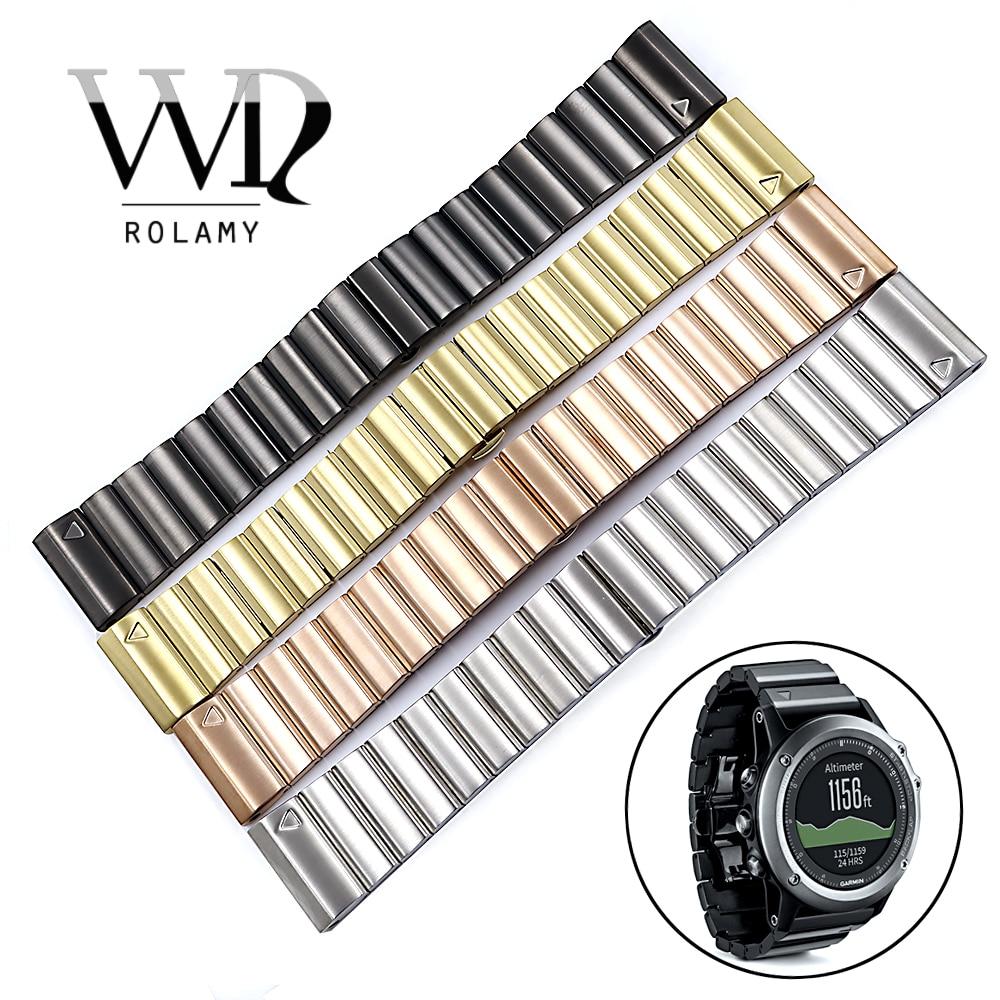 Bracelets de montre de rechange en acier inoxydable 316L Rolamy 26mm boucles Bracelets avec outils de groupe pour Garmin Fenix 3 HR 5X