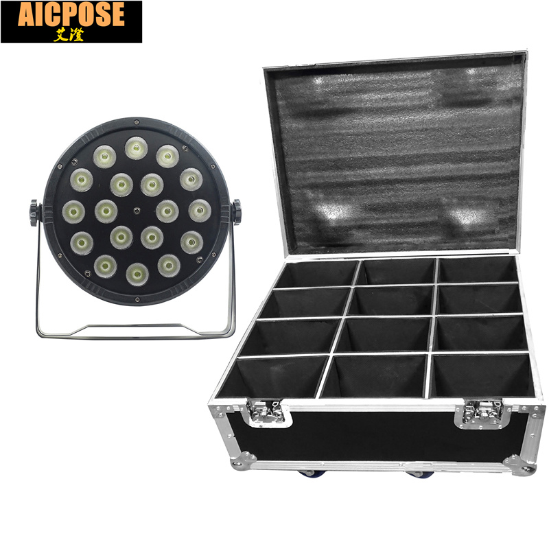 12units 18x12W led Par lights RGBW 4in1 flat par led with Flight case dmx512 disco lights professional stage dj equipment 2pcs lot rgbw 4in1 18x12w led par full color disco lights dmx512 par led professional dj equipment dye with power in power out