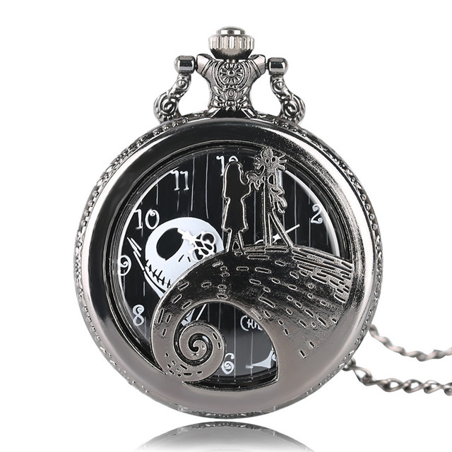 Cool The Nightmare Before Christmas Girl Hollow Pocket Watch Black Necklace Chai