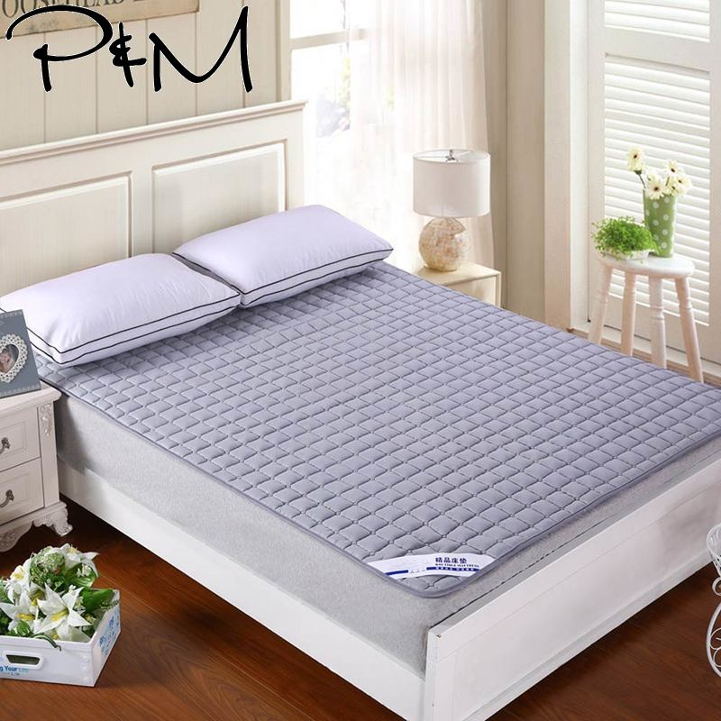 Nordic Solid Quilting Mattress Cover Polyester Knitted