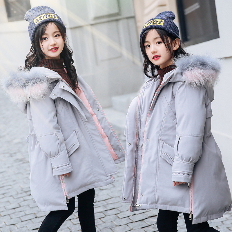 2018 New Blue Children Winter Jacket Girl Winter Coat Kids Warm Thick Fur Collar Hooded long down Coats For Teenage 6 8 10 12 14 2017 new winter fashion women down jacket hooded thick super warm medium long female coat long sleeve slim big yards parkas nz18