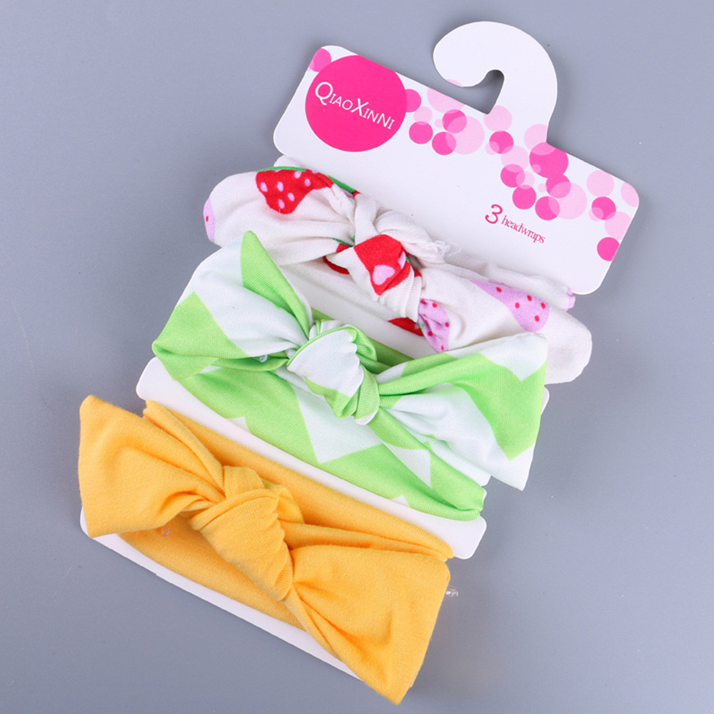 Baby Headband 3Pcs Kids Floral Headband Girls Baby Elastic Bowknot Accessories Hairband Set Baby Hair Accessories#5%(China)